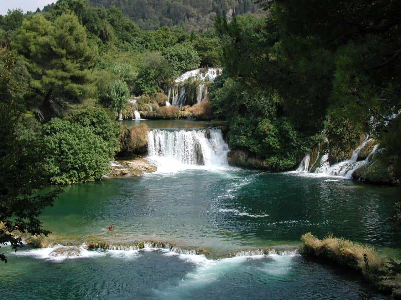מטיילים מתרחצים בשמורת Krka בקרואטיה